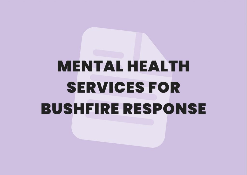 mental health services for bushfire response